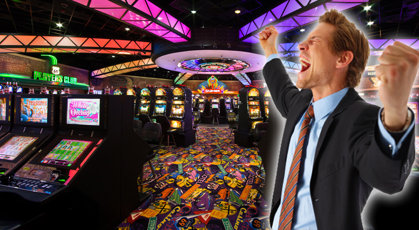 guy shouting on a casino floor